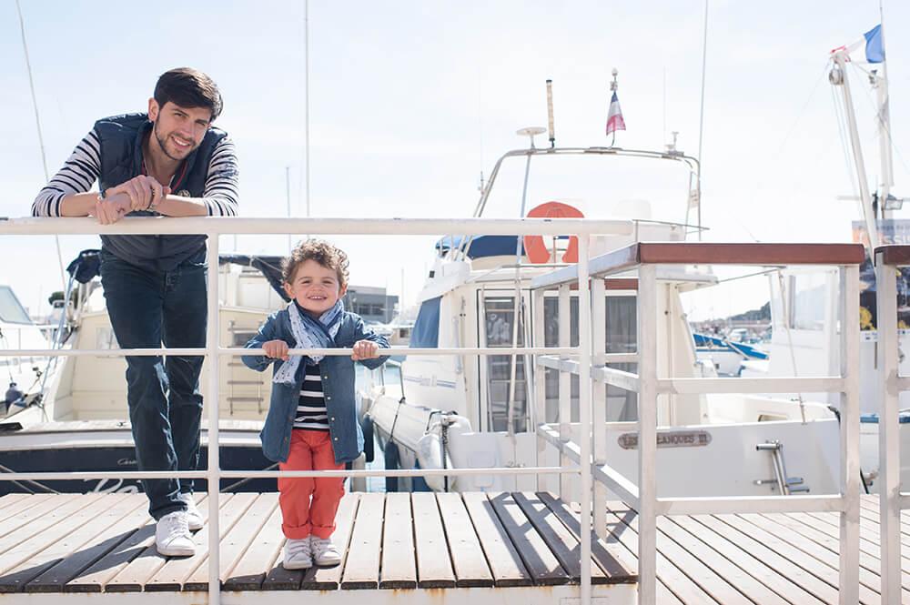Avec mon père sur le port de Cassis.