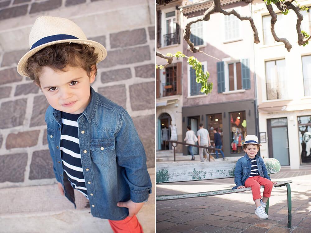 Portrait enfant avec un chapeau de paille à Cassis.