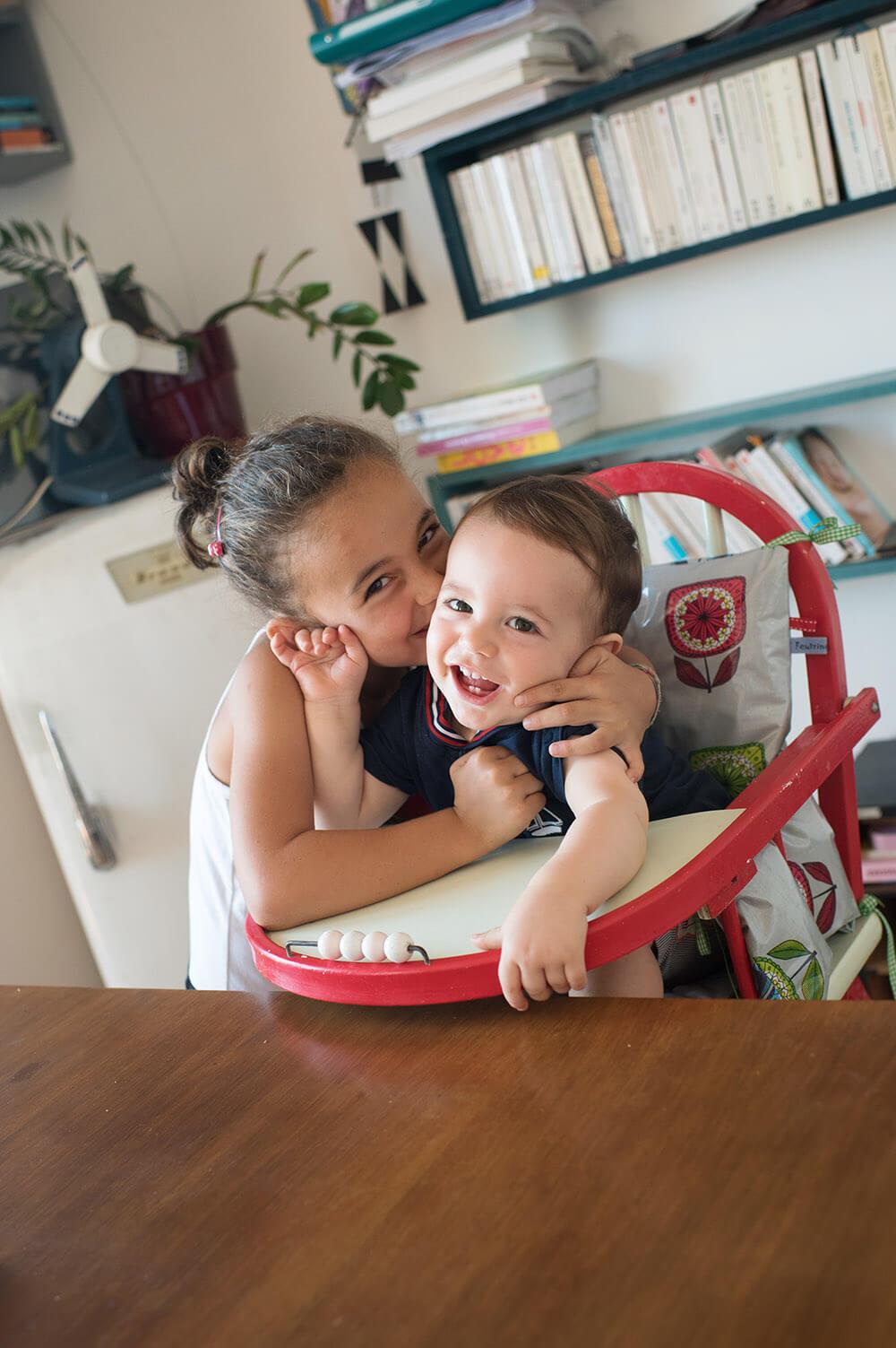 Bisous très affectueux entre frère et sœur