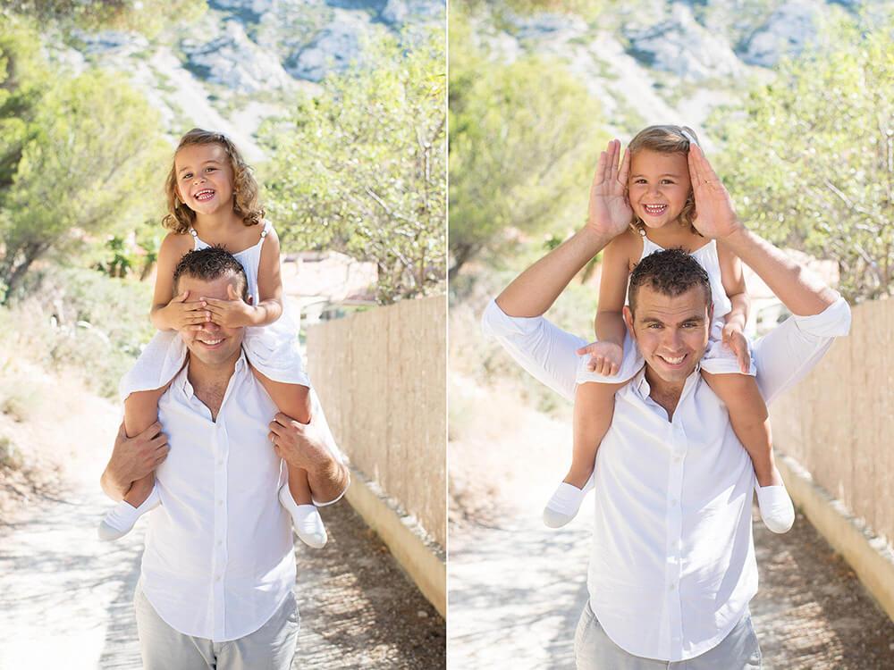 Portrait lifestyle d'un papa et de sa fille entrain de jouer à cache-cache