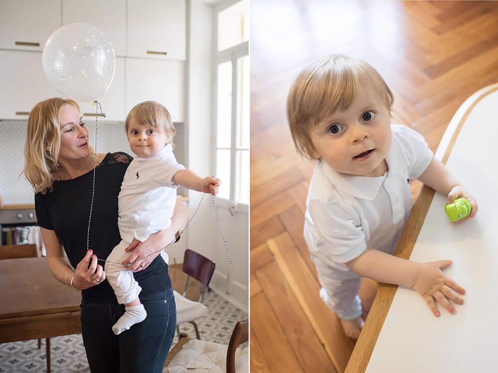 Portrait bébé avec un ballon hélium. Séance photo anniversaire Marseille