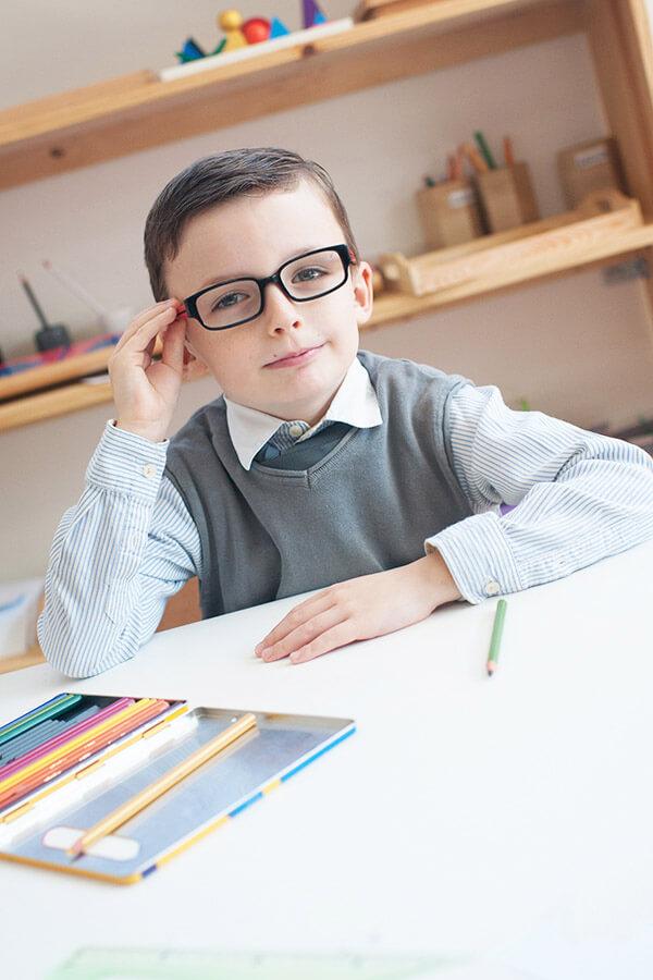 Portrait en classe. Ecole Montessori Esclaibes.