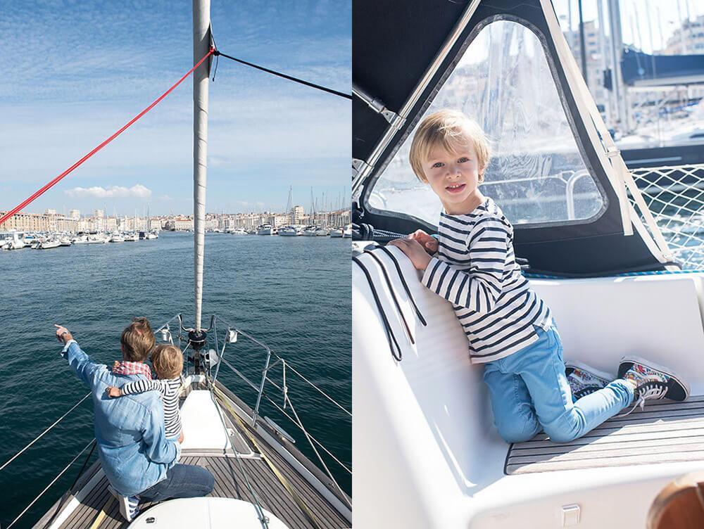 Shooting famille original sur un voilier.