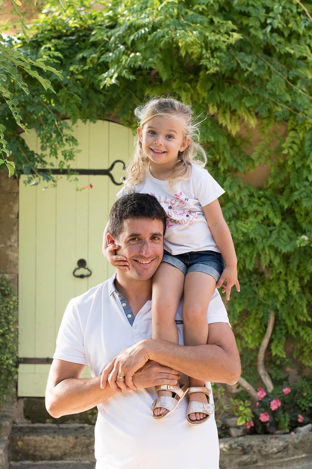 Portrait original d'un papa et de son enfant assise sur de ses une épaules.