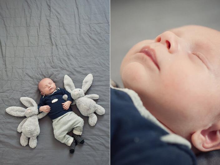 Portfolio bébé naissance Marseille. Jamais sans ses lapins.