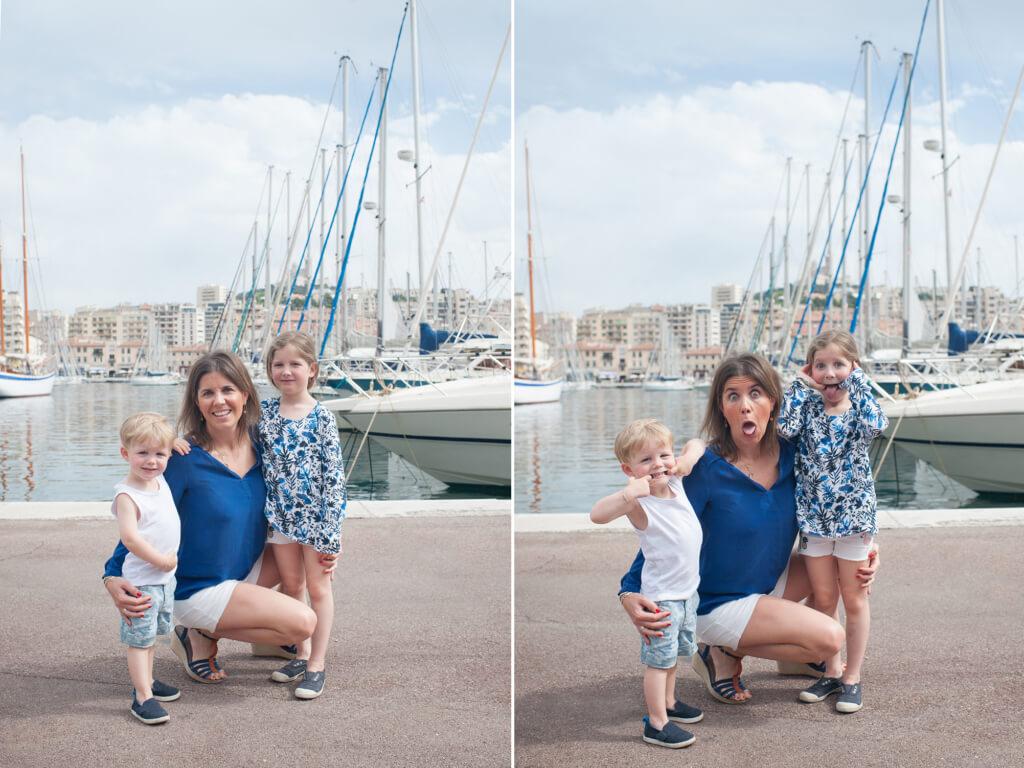 Grimace en famille sur le Vieux-Port de Marseille.
